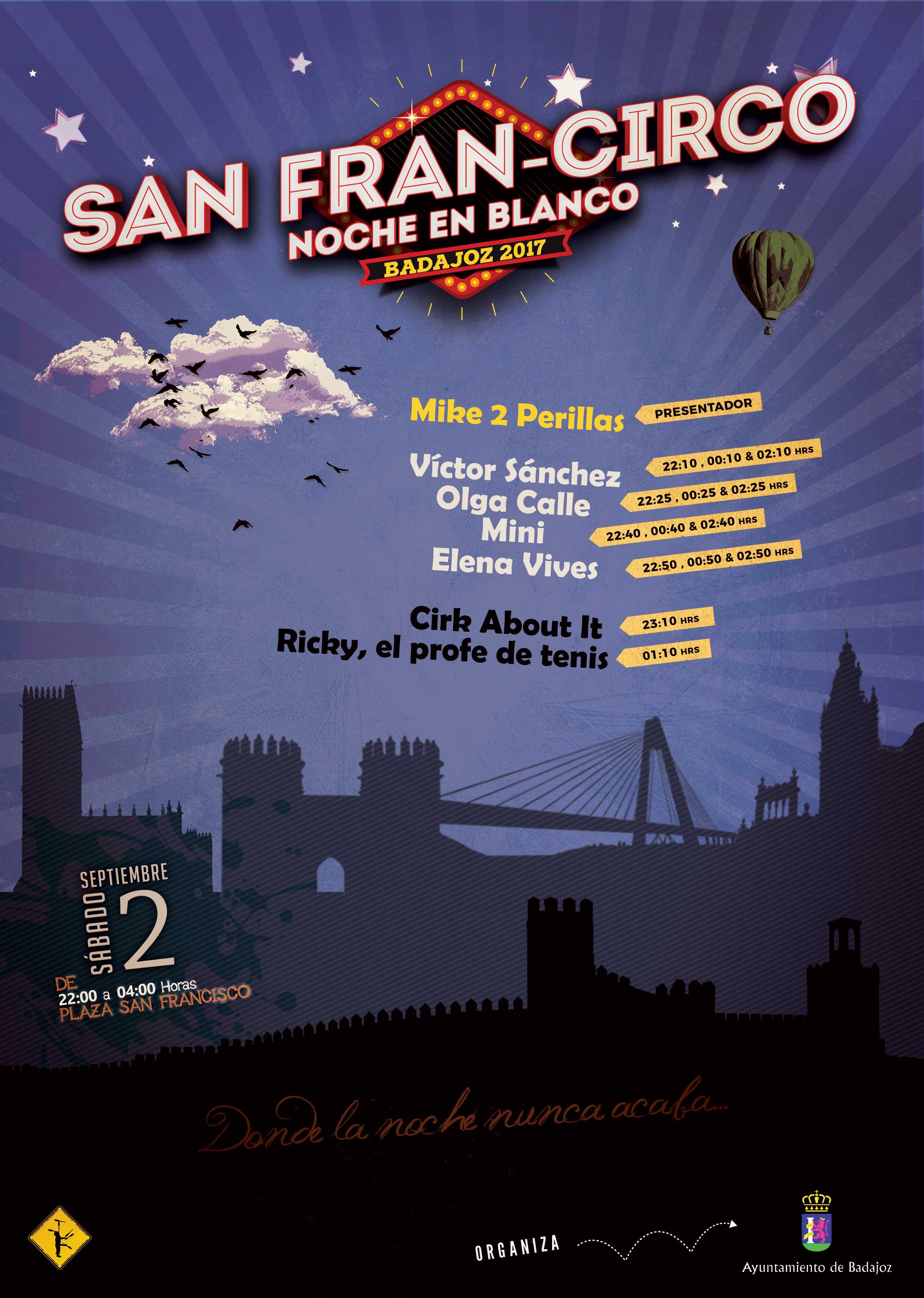 San Fran-Circo en la Noche en Blanco de Badajoz